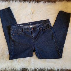 Loft Modern Skinny Medium Wash Jeans Size 14